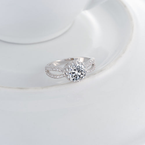 Engagement Rings Silver Color Wedding Ring CZ Zircon