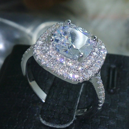 Cushion cut Zircon stone sterling silver Engagement Wedding band