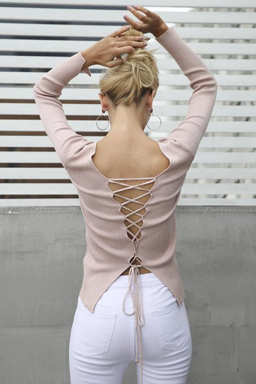 Sexy backless pullover sweater