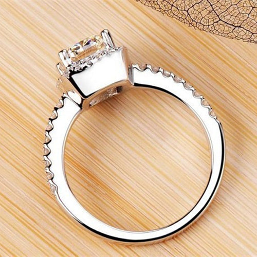 Silver Ring Square CZ Diamand