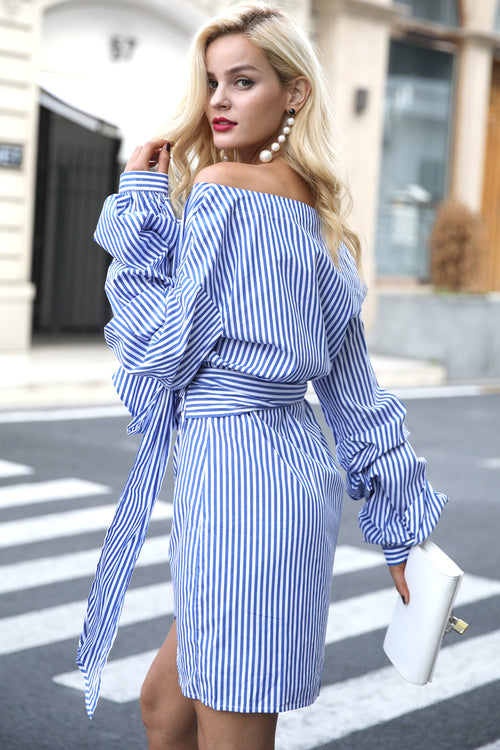Off shoulder lantern sleeve dress