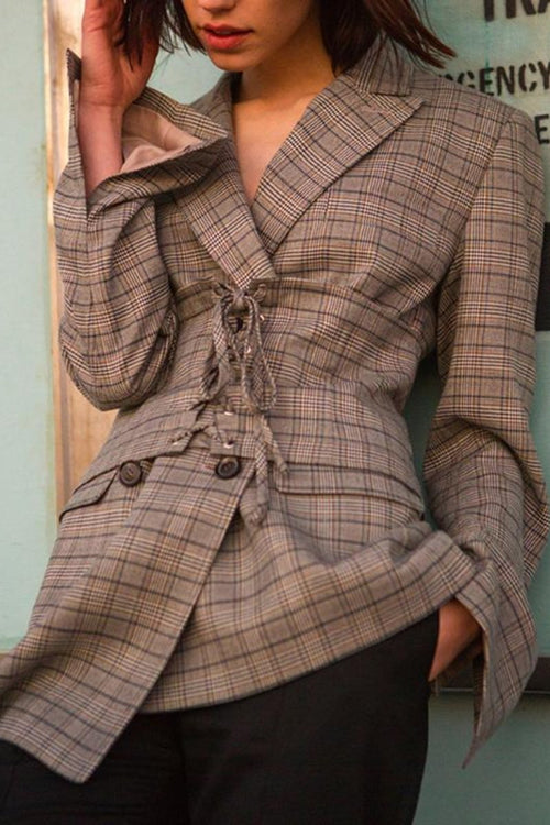 Plaid Long Sleeve Jacket