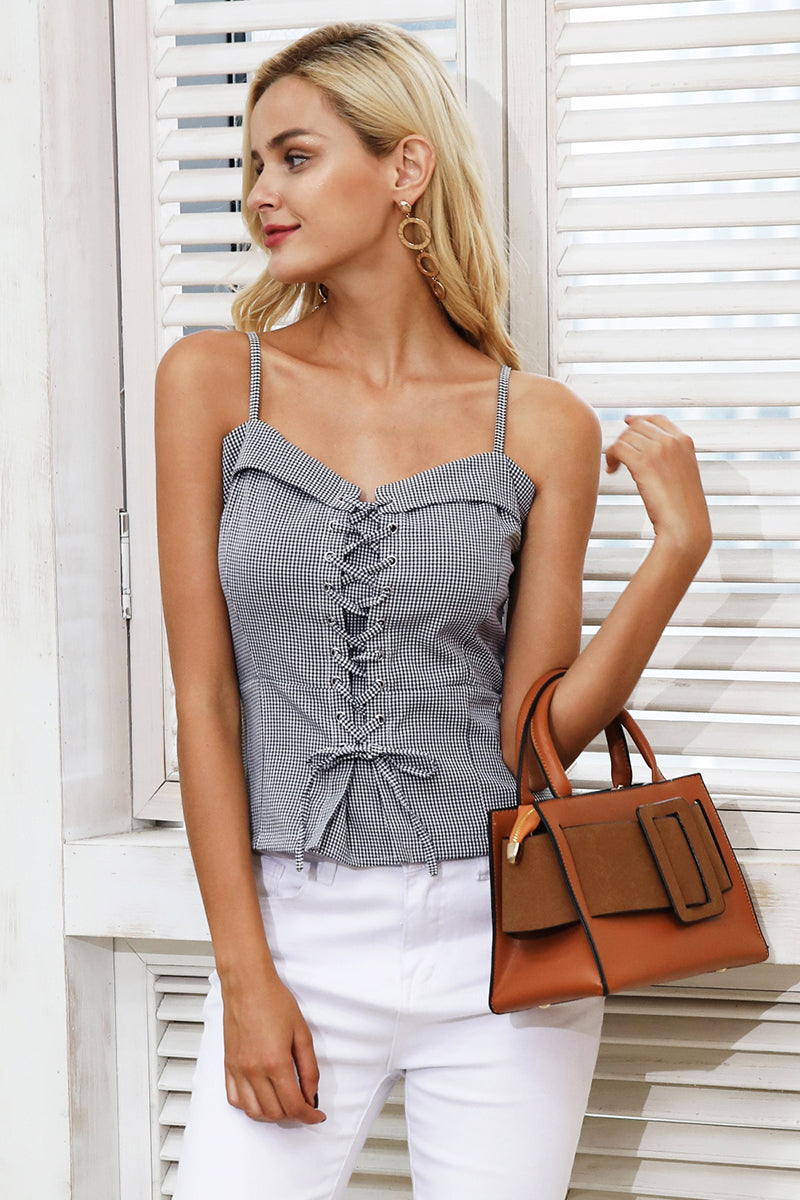 Casual lace up strap camisole tank top