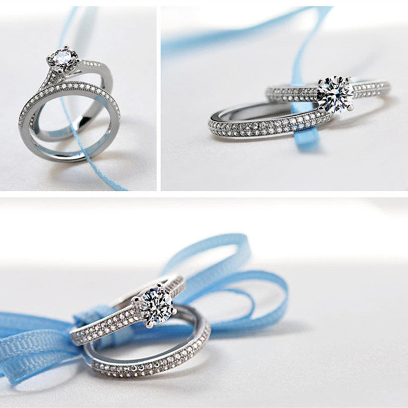 Sterling Silver Double Rings Classic Stackable Bridal Sets