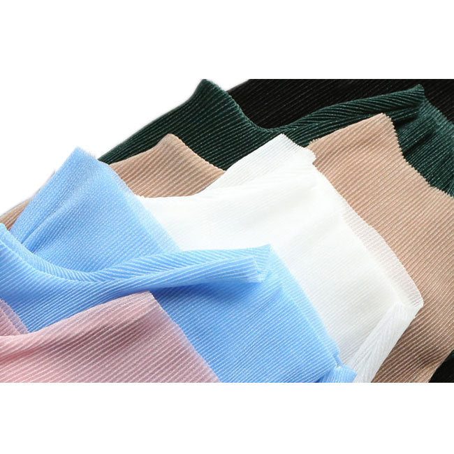 Pleated T Shirts Top Knitting Pullovers Perspective High Collar T shirts