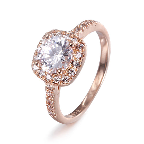 Luxury Rose Gold Square Stone