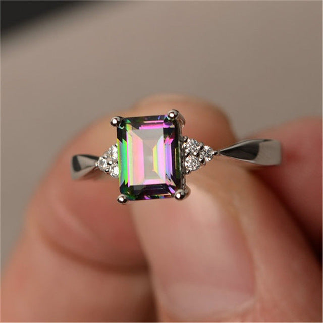 Sterling Silver Rainbow Mystic Colorful/Blue Cubic Zirconia Ring Square Stone