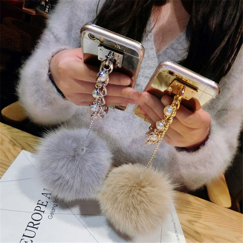 Fur ball Soft Mirror Back cover Pearl Bracelet Phone case