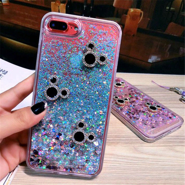 Mouse Head Liquid sand quick-sand soft Phone case Back cover