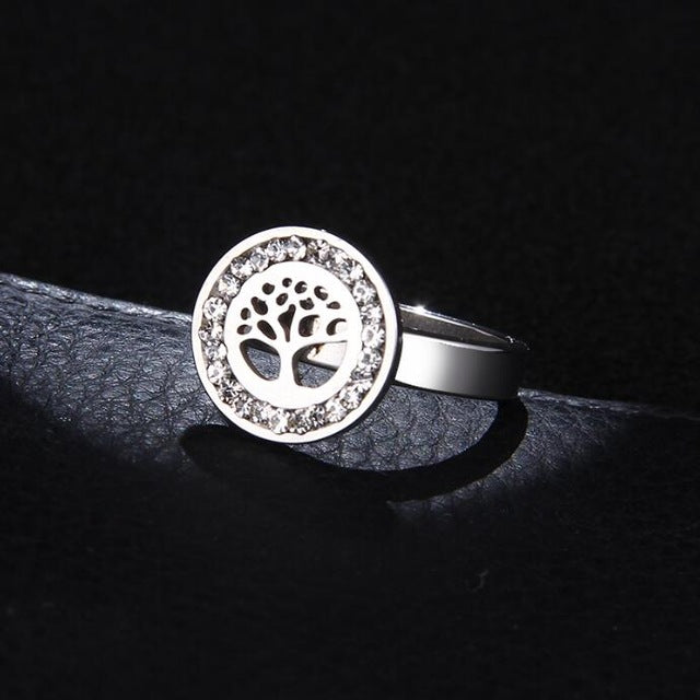 Crystal Tree of Life Classical Stainless Steel Rings