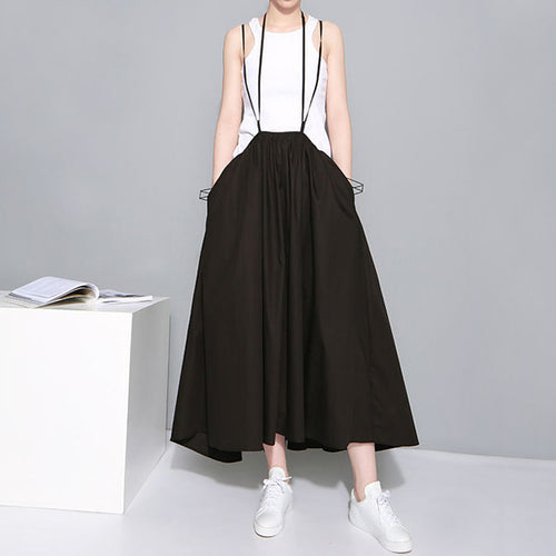 Black White Maxi Skirts Elastic Waist Suspenders Cotton Pleated Skirt two way wearing