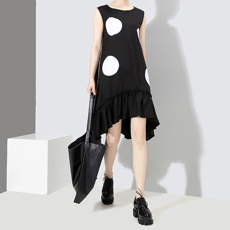 Black Sun Dress Large Dots Print Sleeveless Ruffles Hem Straight Dress