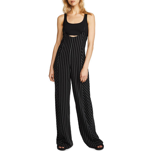 Striped Jumpsuits Spaghetti Strap High Waist Wide Leg Pants
