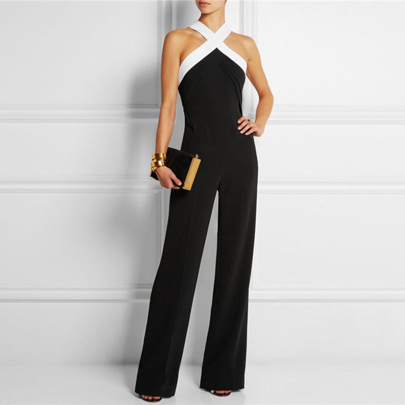 Off Shoulder Jumpsuits Cross Lace Up Slim High Waiat Long Wide Leg Pants