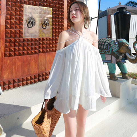 Bandage Dress White Batwing Sleeve O-Neck Elegant Dress