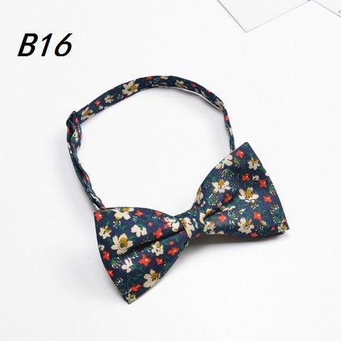 Men's Cotton Green Yellow Floral Bow tie