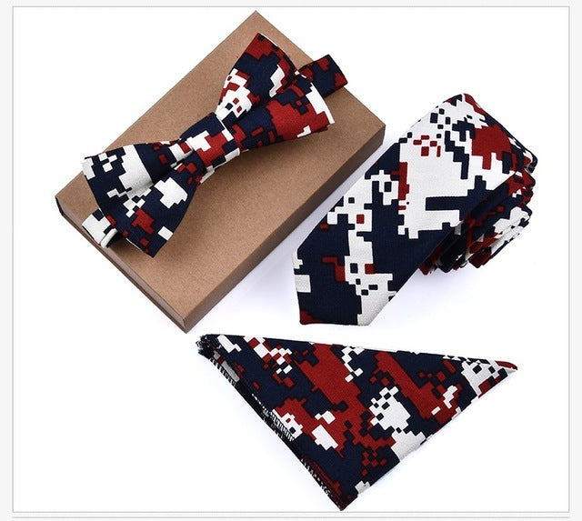 Neck tie Set Men Cotton Slim Tie Bowtie Flower Pocket Handkerchief