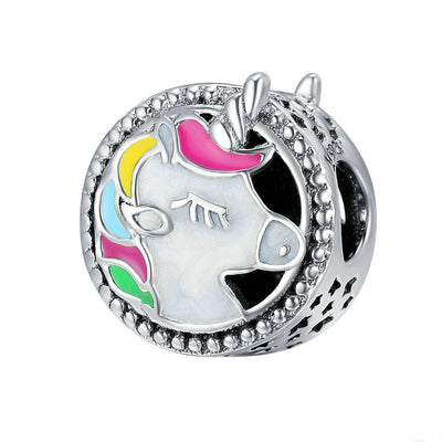 Trendy Sterling Silver and Colorful Enamel Unicorn Bracelet Charms and Necklace Pendants