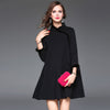 Women's Dresses – Top Quality Turtleneck A-line Black Dress