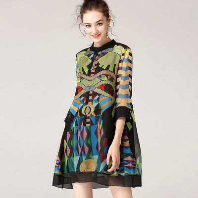 2018-Fashion - 100% Natural Silk Short Sleeve A-line Loose Style Women's Dress