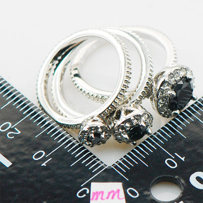 Women's Ring - Black Onyx And Sterling Silver Triple Rings
