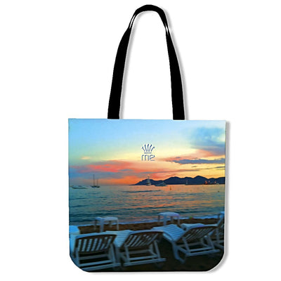 Artistic cotton tote bags – Cannes Sunset – Creative Image Series on premium quality printed poly-cotton, eco-friendly, durable, soft and machine-washable tote bags. Only available here at MyEmporium.com - a unique world of style for you