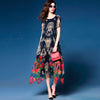 Women's Summer Dresses - Elegant, Long Floral Printed Silk, Polyester, Chiffon