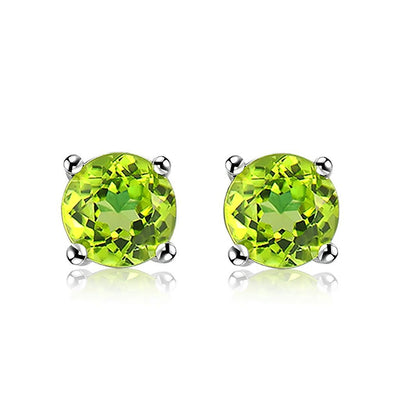 Round Cut Green Peridot And Sterling Silver Stud Earrings for Women