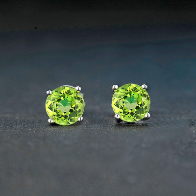Women's Green Peridot And Sterling Silver Earrings