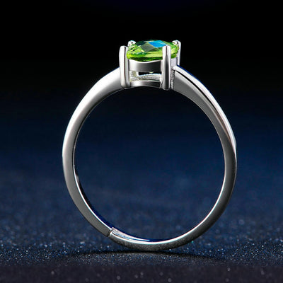 Women's Green Peridot And Sterling Silver Adjustable Ring
