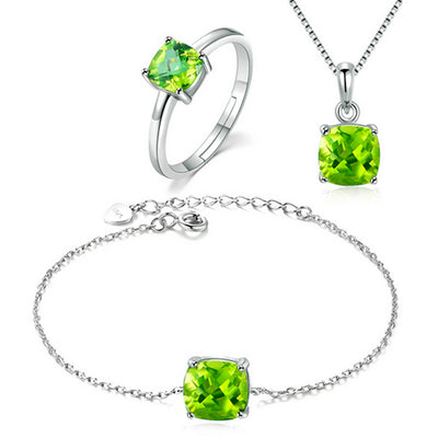 Women's Fine Jewelry Sets – Green Peridot And Sterling Silver