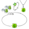 Women's Green Peridot And Sterling Silver 4-piece Jewelry Set