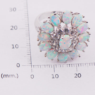 Women's White Fire Opal Cluster Ring