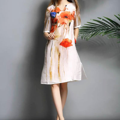 2018 Fashion-100% Natural Silk Short Sleeve A-line Loose Style Women's Dress