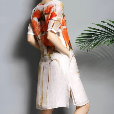Women's Dresses - 100% Natural Silk Short Sleeve A-Line Loose Style