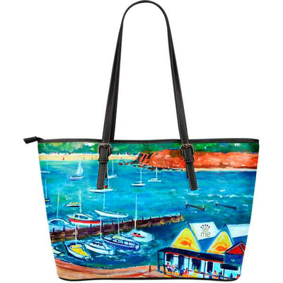 Artistic leather tote bags – Boating Series 03 - high quality prints by Melbourne-born artist Lois Campbell, well renowned for her bright colors and bold, spontaneous strokes. Only available here at MyEmporium.com - a unique world of style for you