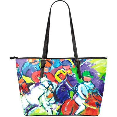 Artistic leather tote bags – Horse Racing Series 03 - high quality prints by Melbourne-born artist Lois Campbell, well renowned for her bright colors and bold, spontaneous strokes. Only available here at MyEmporium.com - a unique world of style for you
