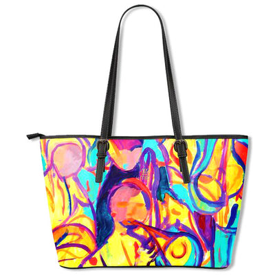 Artistic leather tote bags – Musician Series 03 - high quality prints by Melbourne-born artist Lois Campbell, well renowned for her bright colors and bold, spontaneous strokes. Only available here at MyEmporium.com - a unique world of style for you