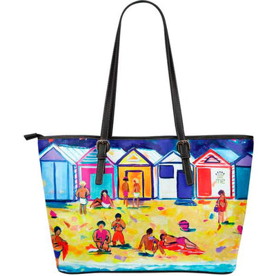 Artistic leather tote bags – Bathing Box Series 02 - high quality prints by Melbourne-born artist Lois Campbell, well renowned for her bright colors and bold, spontaneous strokes. Only available here at MyEmporium.com - a unique world of style for you
