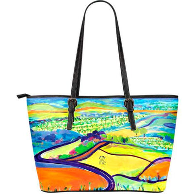 Artistic leather tote bags – Landscape Series 02 - high quality prints by Melbourne-born artist Lois Campbell, well renowned for her bright colors and bold, spontaneous strokes. Only available here at MyEmporium.com - a unique world of style for you