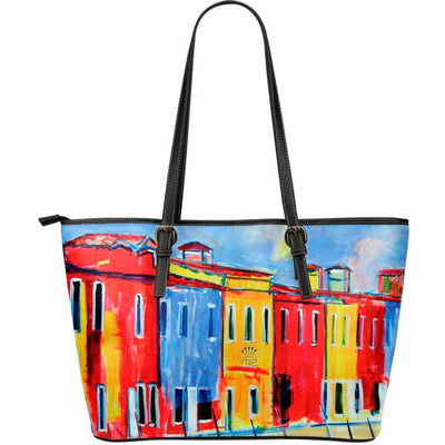 Artistic leather tote bags – Boating Series 04 - high quality prints by Melbourne-born artist Lois Campbell, well renowned for her bright colors and bold, spontaneous strokes. Only available here at MyEmporium.com - a unique world of style for you