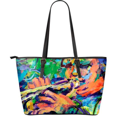 Artistic leather tote bags – Musician Series 04 - high quality prints by Melbourne-born artist Lois Campbell, well renowned for her bright colors and bold, spontaneous strokes. Only available here at MyEmporium.com - a unique world of style for you