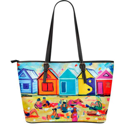 Artistic leather tote bags – Bathing Box Series 01 - high quality prints by Melbourne-born artist Lois Campbell, well renowned for her bright colors and bold, spontaneous strokes. Only available here at MyEmporium.com - a unique world of style for you