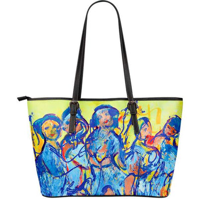 Artistic leather tote bags – Party Series 03 - high quality prints by Melbourne-born artist Lois Campbell, well renowned for her bright colors and bold, spontaneous strokes. Only available here at MyEmporium.com - a unique world of style for you