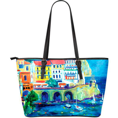 Artistic leather tote bags – Boating Series 05 - high quality prints by Melbourne-born artist Lois Campbell, well renowned for her bright colors and bold, spontaneous strokes. Only available here at MyEmporium.com - a unique world of style for you