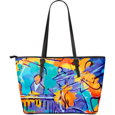 Artistic leather tote bags – Musician Series 01 - high quality prints by Melbourne-born artist Lois Campbell, well renowned for her bright colors and bold, spontaneous strokes. Only available here at MyEmporium.com - a unique world of style for you