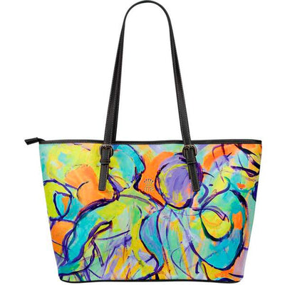 Artistic leather tote bags – Party Series 01 - high quality prints by Melbourne-born artist Lois Campbell, well renowned for her bright colors and bold, spontaneous strokes. Only available here at MyEmporium.com - a unique world of style for you