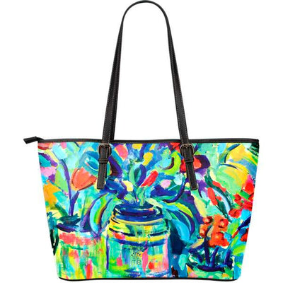 Artistic Printed Leather Tote Bags– Abstract Floral Series 02 - high quality prints by Melbourne-born artist Lois Campbell, well renowned for her bright colors and bold, spontaneous strokes. Unique to MyEmporium.com - a world of style just for you