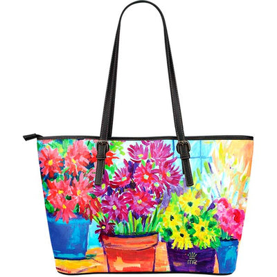 Artistic Printed Leather Tote Bags– Flowers Series 01 - high quality prints by Melbourne-born artist Lois Campbell, well renowned for her bright colors and bold, spontaneous strokes. Unique to MyEmporium.com - a world of style just for you