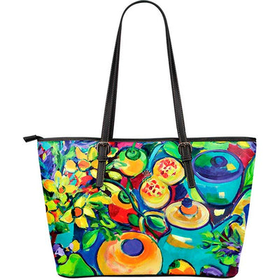Artistic Printed Leather Tote Bags– Flowers Series 02 - high quality prints by Melbourne-born artist Lois Campbell, well renowned for her bright colors and bold, spontaneous strokes. Unique to MyEmporium.com - a world of style just for you